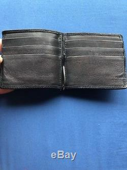100% Authentic Gucci Black GG Money Clip Wallet Holder 6 Card Slots