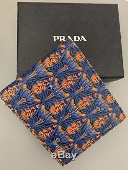 AUTHENTIC Prada Mens Bifold Wallet Pineapple Flower Print On Saffiano Leather