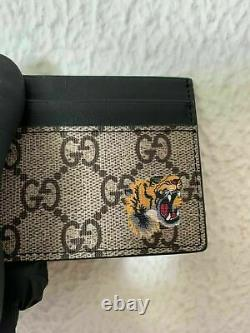 Auth GUCCI Brown Business Card Wallet Tiger Canvas Mens ID 451277 K5T1N Gift