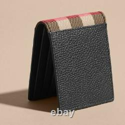 Authentic Burberry Grainy Leather And House Check Bifold Men's Wallet Black