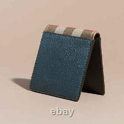 Authentic Burberry Grainy Leather And House Check Bifold Men's Wallet Storm Blue