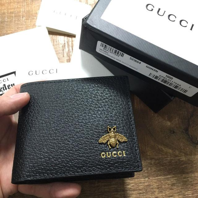 Authentic Gucci Animalier Bee Gg Black Bifold Leather Men Wallet Purse
