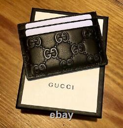 Authentic GUCCI GG Card Case Black Embossed Leather Holder