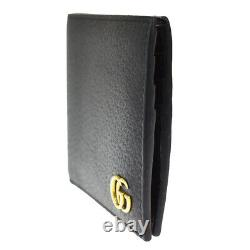 Authentic GUCCI GG Logo Marmont Bifold Wallet Purse Leather Black Italy 05JC487