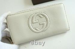 Authentic GUCCI GG Logo Pattern White Leather Zip Around Wallet #6163