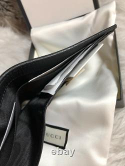 Authentic GUCCI Guccisimma Men's BiFold Wallet In Black GG Canvas / Leather