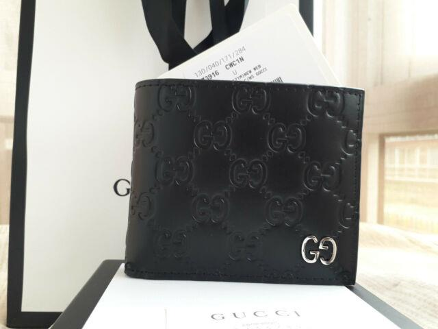 Authentic Gucci Signature Wallet Brand New Purse Card Genuine Gg Leather Black