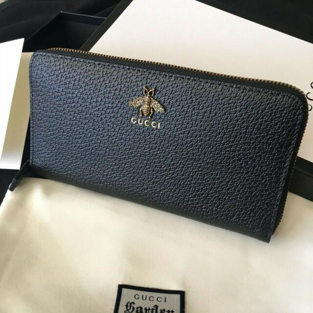 Authentic Gucci Bee Gg Marmont Zippy Black Leather Women Zip Around Wallet Purse
