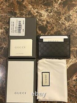 Authentic Gucci Black Leather Card Case Card Holder
