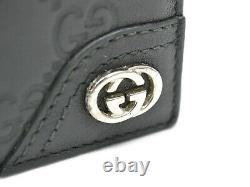 Authentic Gucci GG Shima Leather Bifold Compact Wallet Black Double G Men Italy