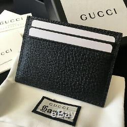 Authentic Gucci Gg Card Holder Black Bee Leather Men Wallet Case Purse