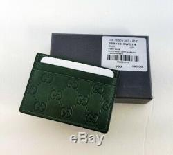 Authentic Gucci Guccissima Green Leather Card Case Card Holder