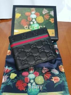 Authentic Gucci Men's Black Real Leather Wallet
