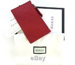 Authentic Gucci Signature Guccissima Zip Red Leather Card Case Card Holder
