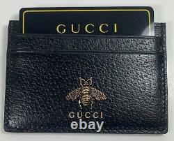 Authentic New Gucci Black Leather Bee Credit Card Holder