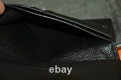 Authentic New Tom Ford Black Grained Leather Long Wallet