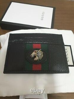 Authentic Rare New Gucci Black Leather Rajah Credit Card Holder