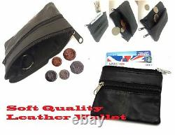 BLACK soft REAL LEATHER POUCH 2 zips coin holder change money bag wallet unisex