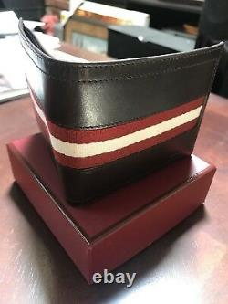Bally Bifold Wallet Chocolate Color with Signature Stripe
