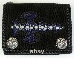 Blue Gothic Cross Genuine Stingray Leather Biker 925 Sterling Silver Snap Wallet