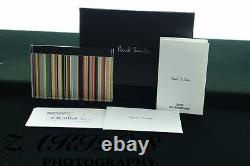 Bnwt Paul Smith Multi Stripe Leather Credit Card Holder Wallet Made In Italy