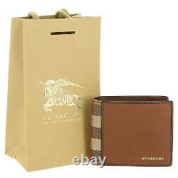 Burberry Bifold Wallet Grainy Leather And House Check Men's Brown 100% Authentic