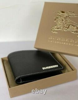 Burberry Bifold Wallet Grainy Leather House Check 100%Genuine Black RRP350$ Best