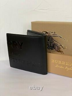 Burberry Bifold Wallet Horseferry Print Leather Black New 100%Genuine