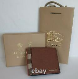 Burberry Bifold Wallet New 100% Authentic Leather Brown Checkered Small RRP300$