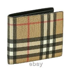 Burberry Bifold Wallet New 100% Authentic Leather Checkered Pattern RRP 350$