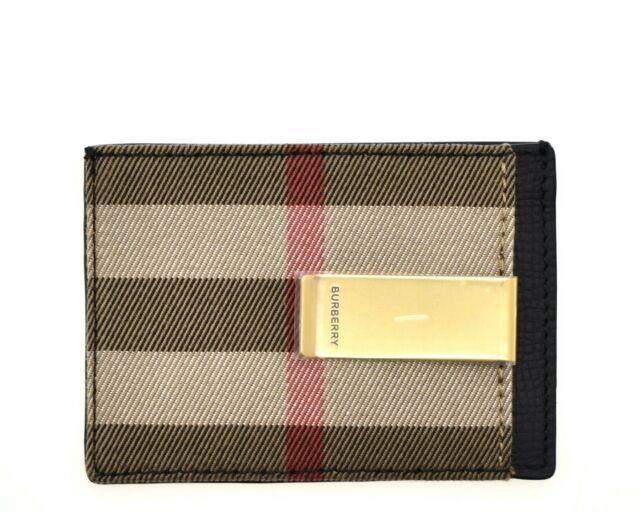 Burberry Chase Wallet Money Clip Card Case Black New