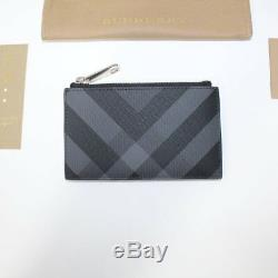 Burberry Leather Check Zip Card Holder