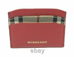 Burberry Men's Horseferry Check Izzy Parade Red Leather Card Case Wallet
