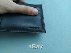 Burberry Monogram Leather Black Bifold Men wallet with ID Card Case 80140631