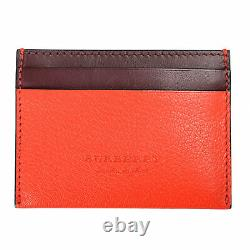 Burberry Unisex Red Pebbled Leather Card Holder