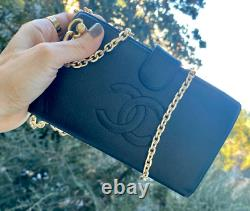 CHANEL Authentic CC Long Wallet Clutch -Wallet On Chain Added Crossbody WOC