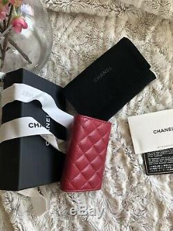 CHANEL Red Caviar Leather Quilted Flap Card Holder Wallet