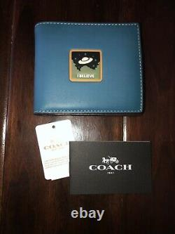 COACH 1941 Mens NASA Space Ship I BELIEVE Glovetanned 3-In-1 Wallet NWT
