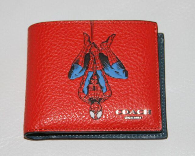 Coach Marvel 3 In 1 Wallet With Spiderman Red Leather Billfold Ships Fast