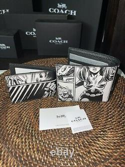 COACH X Marvel Limited Comics Book Print Spider Men 3-In-1 Leather Wallet NWT