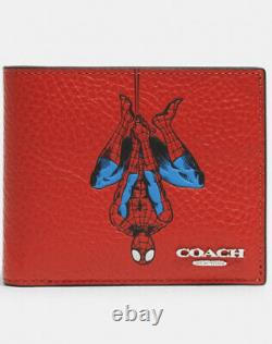 COACH X Marvel Limited Edition Spider Men 3-In-1 Leather Wallet NWT Red 1845