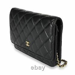 Chanel Black Quilted Lambskin Wallet on Chain