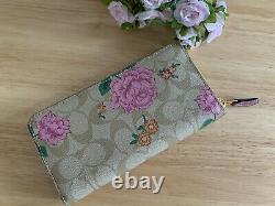 Coach Accordion Zip Wallet In Signature Canvas With Prairie Rose Print
