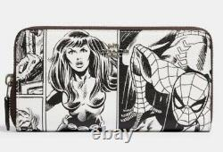 Coach Marvel Comic Print Spider Man Accordion Zip Wallet 3477 New Limited Ed