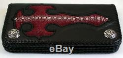 Cross Red Row Genuine Stingray Skin Leather Mens Long Wallet New Gothic Biker