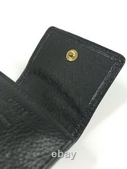 GIANNI VERSACE VINTAGE'90s LEATHER EMBOSSED MEDUSA CHAINED COIN WALLET PURSE