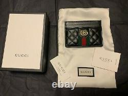 GUCCI Card Case GG in Black Guilted Leather