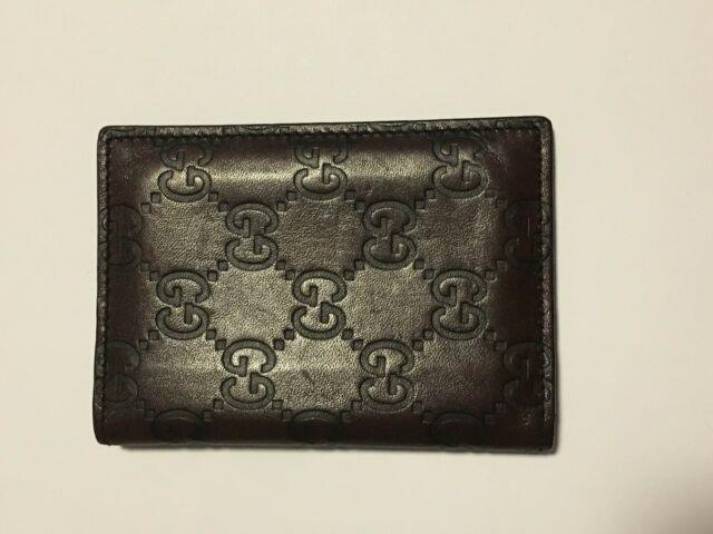 Gucci Card Holder Wallet Id Gg Monogram Brown Leather
