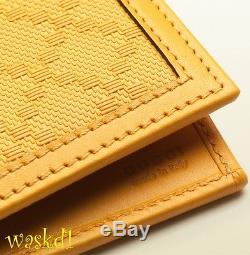 GUCCI Mens Yellow DIAMANTE embossed Leather Bifold wallet NIB Authentic $330