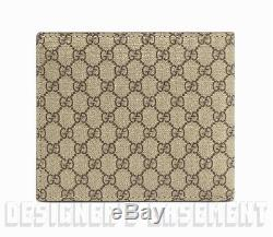 GUCCI Mens brown Micro GG SUPREME Canvas Leather TAB bifold wallet NIB Authentic